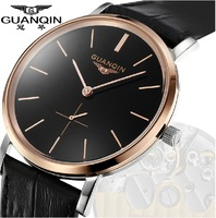 Guanqin mens watches Genuine Watches Men's slim waterproof watch male table quartz watch really belt watch