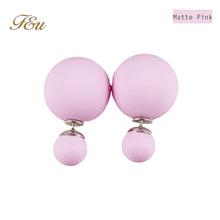 2015 Hot Sale Fine Jewelry 17 Color Double Pearl Stud Earrings For Women Fashion Jewelry Free