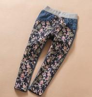 6pcs/lot Fashion Floral Print Children Flower Jeans For Girl Wear Clothes, bg214