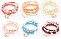 Wholesale Jewelry Bohemia Style Fashion Elephant Pearl Multilayer Charm Bracelet,12pcs/lot