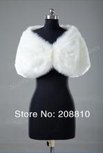 2015 Elegant Retail Warm Faux Fur Ivory Bolero Wedding Wrap Shawl Bridal Jacket Coat Accessories Free Shipping 1855(China (Mainland))