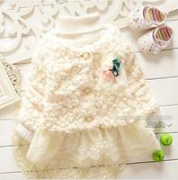 New fashion baby girl sweater coat pink white cotton lace flower sweater kids girls sweater coat children sweater coats 4pcs/lot