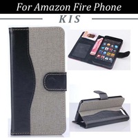 30pcs/lot Jeans Series Book Style Magnetic Stand PU Leather Case With Card Slots For Amazon Fire Phone, Free Shipping