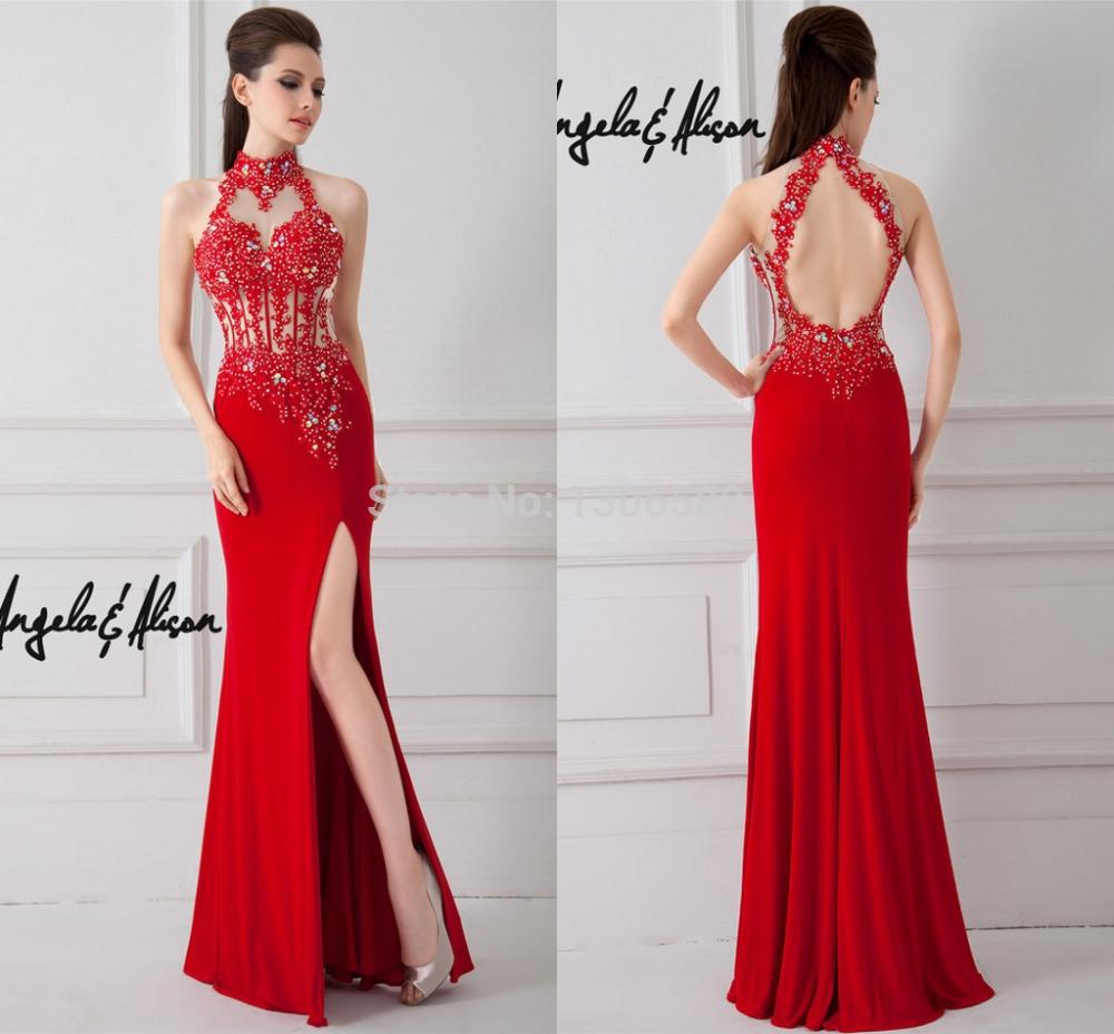 Red Open Back Mermaid Dress Mermaid Salomon Open Back