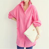 2014 new fashion keroan style long sleeve loose blouse turn down collar long solid shirt casual women's shirt hot sale N498