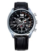 Free Shipping Skmei New 2014 Men Genuine Leather Strap Waterproof 30m Quartz Watches Casual Calendar Relogios Analog Wristwatch