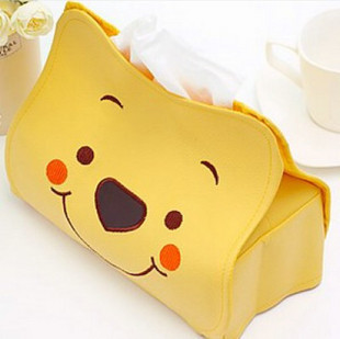 Red diamond deals Winnie the Pooh leather tissue box / car pumping towel tube with pedestal / cute cartoon towel sets(China (Mainland))