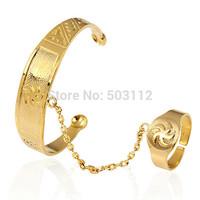 18k Yellow Gold Filled GF Tubular Open Bangle Bracelet Ring Set Baby Kids Infant Free Shipping