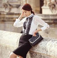Hot selling!2014 new fashion keroan style long sleeve slim blouse lace patchwork shirt professional women's shirt  N501