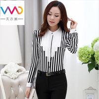 Hot selling!2014 fashion keroan style long sleeve slim chiffon blouse striped basic shirt casual women's shirt  N505