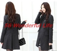 New Women's Coat New Fashion Women Slim Wool Mixed Double-breasted Coat Winter Coat Wool Coat WT4097