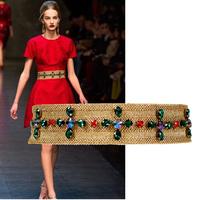 Genuine new handmade rhinestone decoration belt female Korean wild fashion wide belt elastic belt girdle