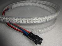 1M long 144leds/m WS2812B(5050 rgb led with WS2811 IC built-in) led pixel strip,DC5V,waterproof in silicon tube;white PCB