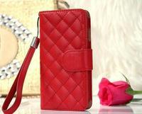 Fashion grid leather handbag strap wallet card set design case for iPhone 6 ( 4.7 inch )