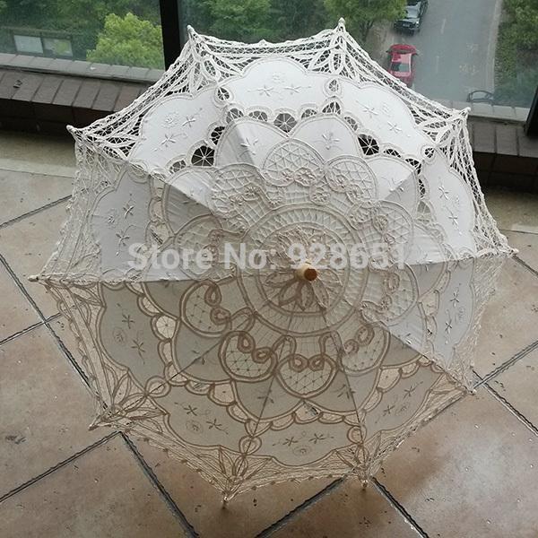 "30"" beige cut work Fashional Embroidered Lace Parasol Sun Umbrella Wedding Bridal Bridesmaid Party Decoration Free Shipping(China (Mainland))"