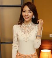 2014 new fashion keroan style autumn o neck slim solid lace t-shirt basic t-shirt casual women's t-shirt hot sale N509