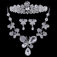 Pretty good rain swirling Korean crystal butterfly necklace bride wedding jewelry accessories wedding necklace three-piece crown
