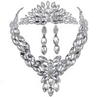 Pretty good eternal love necklace earrings set bridal headdress Parure luxury wedding accessories