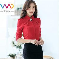 2014 high quality keroan style long sleeve turn down collar slim blouse solid basic shirt professional  women's shirt N510