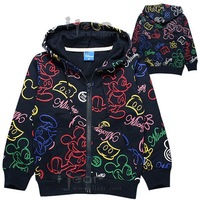2014 new hot boy cartoon fashion long-sleeved jacket hooded sweater coat D6016 sapphire Kids