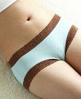 FREE SHIPPING Seamless bamboo fiber female underwear sexy lace waist briefs antibacterial girls