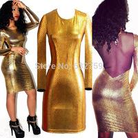 new long sleeve metal snake skin white gauze upscale nightclub backless dress dress