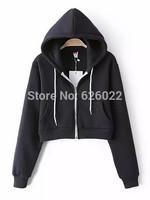 2014 New Women's Trendy  AA Drawstring Hat Long Sleeve Short Jumper Sweats Hooded SweartShirt Hoodies Tops