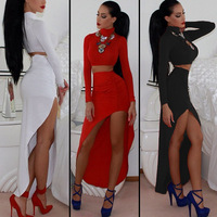 Different paragraphs detonation star fashion in Europe and America to sexy long-sleeved two-piece pendulum night dress