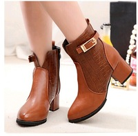 2014 New Autumn Winter Women High Quality Solid Ankle Boots high heel shoes winter fashion sexy warm fur buckle women boot pumps
