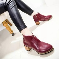 2014 New Autumn Winter Fashion European style women ankle boots women's martin boots flat vintage buckle motorcycle boots