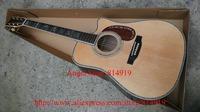 Customer Made LOGO Acoustic Guitar AAA top Solid Spruce Ebony Fingerboard / Ebony Bridge Mahogany pickguard Abalone inlay