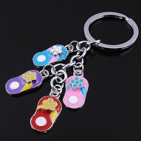 Free shipping ZT010 Creative keychain The four colour slippers key chain