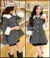 M-3XL plus size 2014 fall and winter women loose woolen coat with fur collar hooded cloak jacket  woolen coat outwear