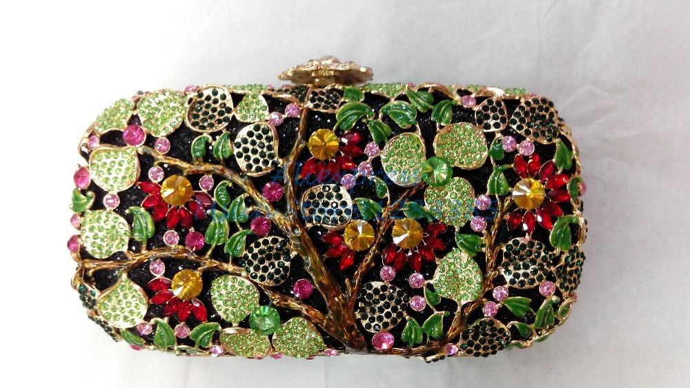 Garden Fruit Wedding Party Prom Evening Women Evening Purses Diamonds Crystal Bag Clutch Bags Rhinestone Women's handbag Bolsa(China (Mainland))