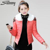 2014 new women's winter warm coat thick padded Jcakets fashion women fur collar Slim Down & Parkas Parker