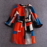 Top Quality!New Hot Sale Winter Coat Women Wool Blends Colorful Printed Faux Fur Patchwork Single Button Long Woolen Coat Female