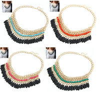 New Arrival Layered Bohemian Tassels Fringe Drop Vintage Gold Choker Chain Statement Necklace For Women,12pcs/lot