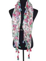 10pcs/lot Floral Flower Print Tassel Scarf Wrap Women's Accessories, Free Shipping