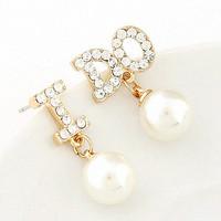 Fashion Big Pearl Dangle Earrings Channel CZ Diamond I DO Drop Earring Brincos Grandes Pendientes Jewelry for Women Wedding
