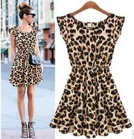 Free shipping 2014 Good quality Fashion Womens Summer Casual Pleated Leopard Dress Sundress Crew Neck Mini Club Dresses S M L XL