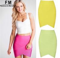 High Quality Bandage Skirt Women Rayon Elastic Women Skirts Mini Sexy Slim Pencil Clubwear Casual Neon Color Clothing SS14K008