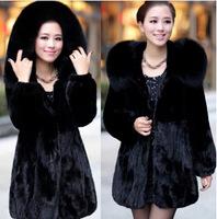 2014 Winter Jacket Women's Mex warm  Mink fur coat Rabbit Fur Collar Medium-long Hooded Fox Fur Coats Plus Size S-5XL Overcoat