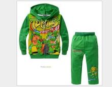 nuevo 2014 otoño teenage mutant ninja turtles diseño 2-7 niños de dibujos animados rebeca manga larga con capucha capa +pants niños deportes traje(China (Mainland))