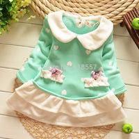 T1134 New 2014 autumn Winter Baby Girl Clothing, Long Sleeve Infant Patchwork Warm Fleece Dresses, Kids Princess Dress  F2