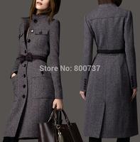 Plus Size M L XL XXL 2014 New Womens Slim Overcoat Lady/Girls Wool Coats Fashion Long Winter&Autumn Woolen Coats/Jackets Free