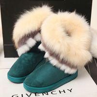 New 2014 Winter Women Fox Fur Snow Boots Fur Boots Women's  Shoes Size 36-40