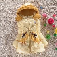 2014 winter thick warm down jacket girls fashion bowknot Children Height 110 ~ 130cm