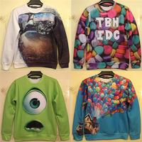 2014 New fall clothing cartoon sweatshirt Monsters university green Mike /ballon fly print 3D women hoodies