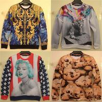 2014 Fashion 3D Hoody The Thinker /marilyn monroe/ cookies Printing Abstract Sweatshirt Unisex Women hoodiesCasual Sweaters