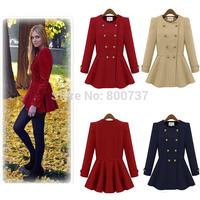 New 2014 Autumn&Winter casacos femininos Woolen coat Double-breasted coat Celebrity Woman overcoat Plus Size S-XL Red Beige Navy